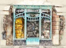 Art nouveau window shop. Illustration of a Parisian art nouveau window shop vector illustration