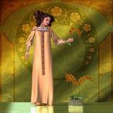Art Nouveau Woman - Orchids Stock Photo