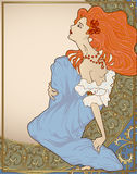 Art-nouveau woman. Vector illustration of art-nouveau redhaired lady with copy space and ornated frame Royalty Free Stock Photography