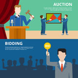Art object culture auction bidding concept flat web banners Royalty Free Stock Photos