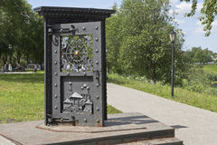 Art Object Door in ... on the waterfront in the city of Vologda Royalty Free Stock Photo