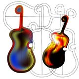 Art object stylized image of the guitar in the Gothic style. Fiery rock guitar Stock Image