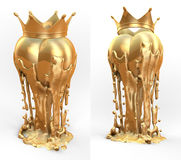 Art object, totem, trophy golden heart with crown Royalty Free Stock Photos