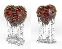 Art object, totem, trophy red heart with golden spikes. 3d rendering isolated on white background stock images