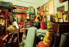 Art objects and antiques in popular second hand store Stock Images