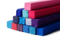Art objects background - red,blue,violet and purple crayons Royalty Free Stock Photos