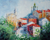 Art Oil-Painting Picture Andrew's Descent in Kyiv. Ukraine Royalty Free Stock Image