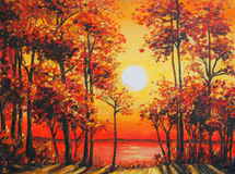 Art Oil Painting Picture - Autumn forest near the lake on sunset Royalty Free Stock Photography