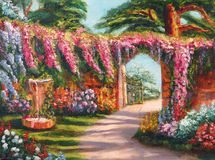 Art Oil-Painting Picture Colorful Flower Fairy Garden with Fountain Stock Photos