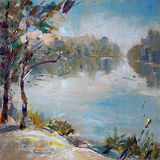 Art Oil-Painting Picture Early in the Morning at the Lake. On the Plein Air Royalty Free Stock Images