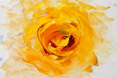 Art Oil-Painting Picture Fantasy Yellow Flower. Abstract oil painting background. Oil on canvas texture. Hand painted. Modern art Royalty Free Stock Photography