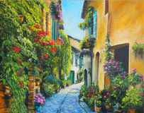 Art Oil-Painting Picture Flower Street in Italië Royalty-vrije Stock Afbeelding