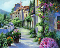 Art Oil-Painting Picture Flower Street op Sunny Day Royalty-vrije Stock Afbeelding