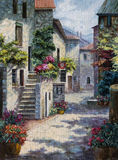 Art Oil-Painting Picture Flower Street on Sunny Day Royalty Free Stock Photo