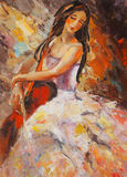 Art Oil-Painting Picture Girl com um violoncelo Fotografia de Stock Royalty Free