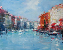 Art Oil-Painting Picture Grand Canal in Venetië Italië Stock Afbeelding