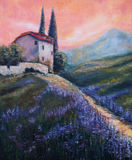 Art Oil-Painting Picture Lavender Fields in Italië Zonsondergang in Toscanië Stock Foto's