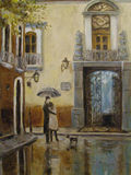 Art Oil-Painting Picture Lovers na chuva Imagem de Stock