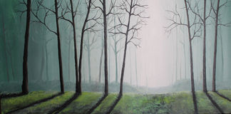 Art Oil-Painting Picture Mystical Forest Stock Photo