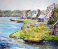 Art Oil-Painting Picture Near the River. Beautiful lanscape with blooming trees, green grass and houses near the river Stock Images