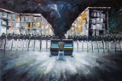 Art Oil-Painting Picture Pianist and Power Structure Berkut on Evromaydan in Ukraine. Freedom Revolution Stock Image