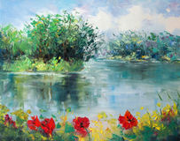 Art Oil-Painting Picture Poppies Near the River Royalty Free Stock Photo