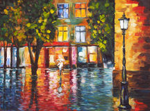 Art Oil Painting Picture Rainy Colorful Evening.  Stock Image