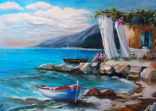 Art Oil-Painting Picture Resting On il mare Fotografie Stock