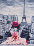Art Oil-Painting Picture Romantic Lady i Paris Arkivbilder