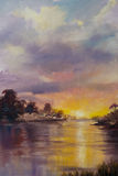 Art Oil-Painting Picture Romantic Sunset Photographie stock
