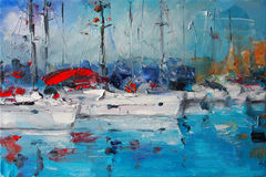 Art Oil-Painting Picture Sailboats in Italië Stock Foto