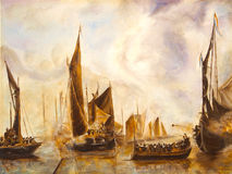 Art Oil-Painting Picture Sea Battle Illustration Libre de Droits