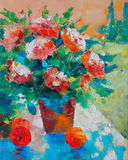 Art Oil-Painting Picture Still Life con las rosas y las manzanas Fotos de archivo