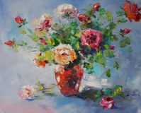 Art Oil-Painting Picture Still Life with Roses Royalty Free Stock Images