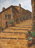 Art Oil-Painting Picture Street in Italië Stock Foto