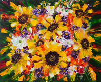 Art Oil-Painting Picture Summer Bouquet with Sunflowers. Art Oil-Painting on Canvas. Picture Summer Bouquet with Sunflowers Royalty Free Stock Images