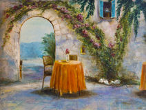 Art Oil-Painting Picture Summer Cafe Fotografia de Stock Royalty Free