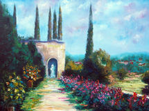 Art Oil-Painting Picture Sunny Italy. Toscana Landscape. Stock Photos