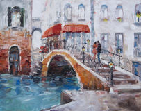 Art Oil-Painting Picture Venice. The Bridge With Lovers Royalty Free Stock Photography