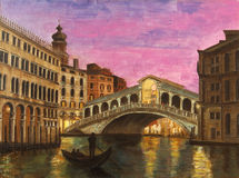 Art Oil-Painting Picture Venice in the evening (Rialto Bridge) Royalty Free Stock Images