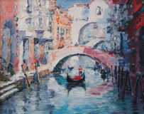 Art Oil-Painting Picture Venice Italië Stock Afbeelding