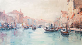 Art Oil-Painting Picture Venice Italy. Famous Venice Grand Canal. Old Architecture and Traditional Gondolas. Art Oil-Painting Picture Venice Italy Stock Illustration