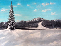 Art Oil-Painting Picture Winter Landscape Royalty Free Stock Photography