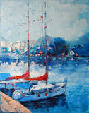 Art Oil-Painting Picture Yachts berthed in Italy. Art Oil-Painting on Canvas. Picture Yachts berthed in Italy Royalty Free Stock Images