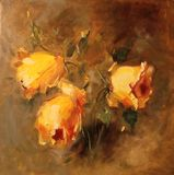 Art Oil-Painting Picture Yellow Roses op Bruine Achtergrond Stock Fotografie