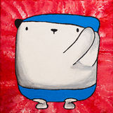 Art Oil vit nallebjörn i baddräkt Fotografering för Bildbyråer