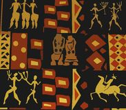 Art old drawings. Picture of first-people silhouettes Stock Images