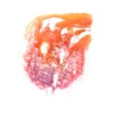 Art Orange, violet watercolor ink paint blob Stock Photo