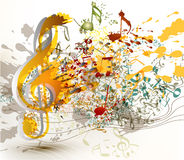 Art ornate treble clef with colorful splash, staves and notes fo Stock Images