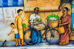 Art ou graffiti de rue de Tiong Bahru sur le mur Photo libre de droits